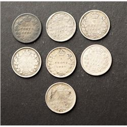 CANADA 1874-1883 A Lot of 7 Victoria 5 Cents Coins in Good-Very Good