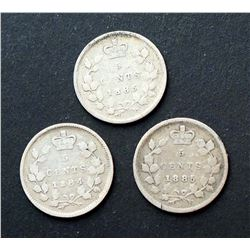 CANADA 1884-1885 A Lot of 3 Victoria 5 Cents in Good-Very Good