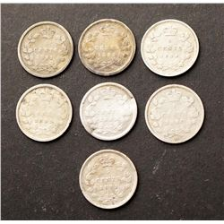 CANADA 1890-1896 A Lot of 7 Victoria 5 Cents in Good-Fine
