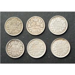 CANADA 1897-1901 A Lot of 6 Victoria 5 Cents in Good-Very Fine