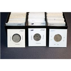 """1922-2012 A 413 Piece Lot of 2"""" x 2"""" Mounted VG-UNC Five Cents Canadian in 6 boxs"""