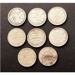CANADA 1892-1901 A Lot of 8 Victorian Silver 10 Cents in Good-Fine
