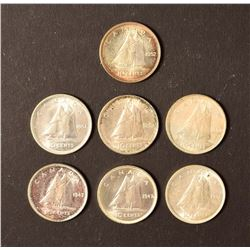 CANADA 1947-1952 A Lot of 7 George VI 10 Cents VF-UNC