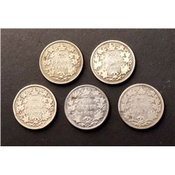 CANADA 1871-1880 A Lot of 5 Victoria 25 Cents Coins in Good-Fine