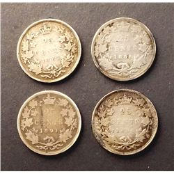CANADA 1881-1891 A Lot of 4 Victoria 25 Cents Coins in Good-Very Good