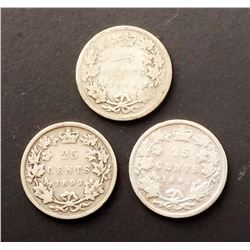 CANADA 1892-1894 A Lot of 3 Victoria 25 Cents Coins in Good-Very good