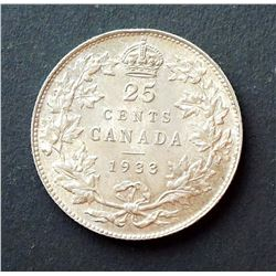 CANADA 1933 George V 25 Cents .800 Silver Medal Axis 5.83 gms in Mint State 62
