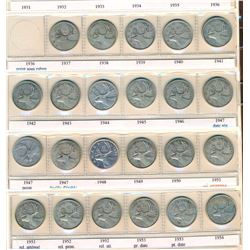 CANADA 1937-1968 A Lot of 1 Uni-safe Binder w/a Year Set of Silver 25 Cents VG-UNC