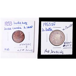CANADA 1953 A Lot of 2 Error Coins Silver Twenty-Five Cents and Double Error Cent