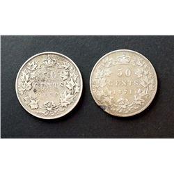 CANADA 1871-1872. Lot of 2 Victorian Half Dollars G-VG-10