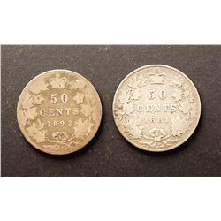 CANADA 1881-1892. Lot of 2 Victorian Half Dollars AG-3-VG-10