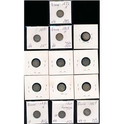 USA 1857-1873 A 13 Piece Lot of United States Half Dimes Good-Fine