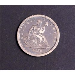 USA 1839 Liberty Seated 25 Cents Tyoe 1 in Very Fine 20