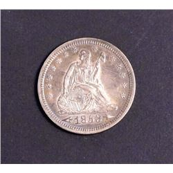 USA 1853 Liberty Seated 25 Cents Type 2 in Extra Fine-40