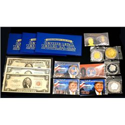 USA A Special Lot of 15 Pieces Highlighting Donald J.Trump Coins & Papermoney
