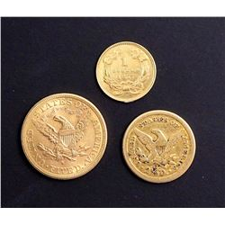 1851-1885 A Trio of USA Gold Coins in Various Grades