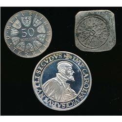 AUSTRIA 1577-1974 An Interesting Lot 3 Special Coins 1.28 tr. oz.Silver VF-Proof