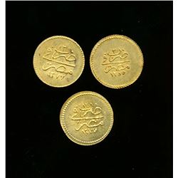 EGYPT AH-1277 A Lot of 3 x 5 Qirsh Abdul Aziz Gold Coins .833 AU 0.0412 tr.oz. EF+