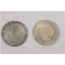 GREAT BRITAIN 1819 LX A Lot of 2 Crowns KM# 675 1.64 tr.oz. Silver G-G+