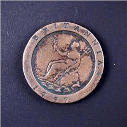 1797 Great Britain 2 Pence KM# 619 Fine+