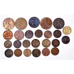 GREAT BRITAIN 1825-1944 A Lot of 25 Farthing-3 Pence Copper Collection VG-EF