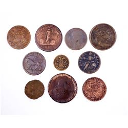 GREAT BRITAIN 1715-1817 A Lot of 10 Tokens and Half Pennies AG-Fine+