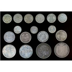 GREAT BRITAIN 1834-1948 A Lot of 17 Mixed Denominations Silver Coins 2.52 tr.oz.