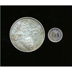 GREAT BRITAIN 1839-1881 A Lot of 2 British Silver Coins Florin and 1-1/2 Pence Fine