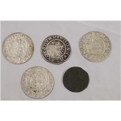 POLAND 1510-1751 A Lot of 5 Silver Coins All in Nice Condition