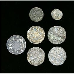 POLAND 1556-1652 A Lot of 7 Lithuania Silver Coins, Fine-Very Fine Should be Viewed.