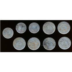 SYRIA 1929-1937 A 9 Coin Lot of KM# 73-74 25 & 50 Piastres .680 AG 1.64 tr.oz. VF