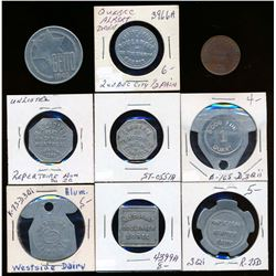 WORLD 1809-1943 A Lot of 9 Tokens From France, Poland and Canada VG-EF