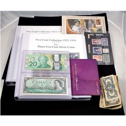 1911-2015 A Mixed Lot of Coins, Paper Money and Stamps. Should be Viewed