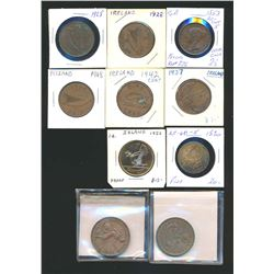 WORLD A Lot of 10 Commonwealth Copper Coins and Tokens Very Good-Extra Fine