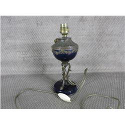 Vintage French Blue Cobalt & Bronze Lamp cira 1895