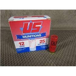 12 ga 2 3/4 US Munitions 1 1/8 oz 7 1/2 Shot Box of 25