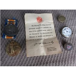 WW1 Medals, Badge, Pin & Watch of PTE R.M. Johnston.