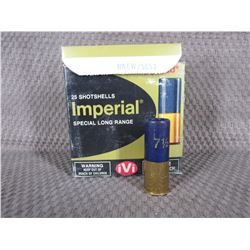 "12 Ga 2 3/4""  1 box of 25 Imperial with 1 1/4 oz of #7 1/2"