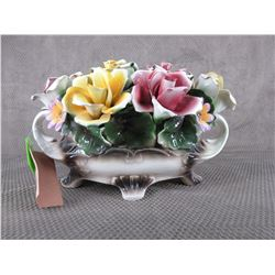 Capodimonte Hand Painted Italian Porcelain Flower Basket