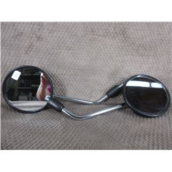 Black Plastic Motorcycle Mirror on Chrome Rod