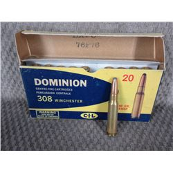 308 Winchester, Box of 20, Dominion CIL 180 Gr KKSP