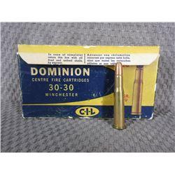 30-30 Winchester, Box of 20, Dominion CIL 150 Gr PNEU