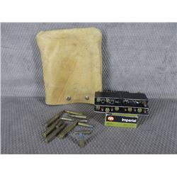 23 Misc. Cartridges & 5 Brass in Leather Bag