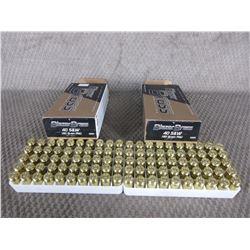 40 S&W 2 Boxes of 50, Blazer Brass 180 Gr FMJ