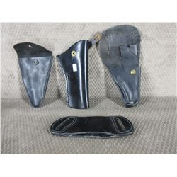 4 Leather Holsters - 3 for Guns & 1 Other