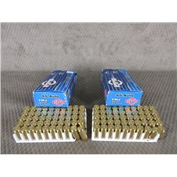 45 Auto 2 Boxes of 50, PPU 230 Gr FMJ