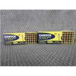 22 LR 2 Boxes of 50 CIL Greased, Vintage Collector Ammo