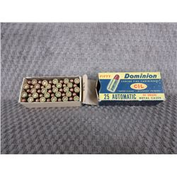 25 Automatic, Box of 50 CIL 50 Gr Collector Ammo
