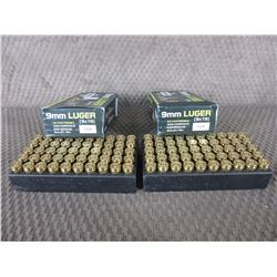 9mm Luger 2 Boxes of 50, Sumbro 124 Gr FMJ