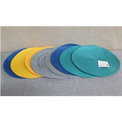 "Qty 8 Round Woven Placemats Aqua, Blue, Yellow 15"" Diameter"